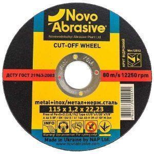 Круг отрезной по металлу Novoabrasive 115 х 1.2 х 22,23